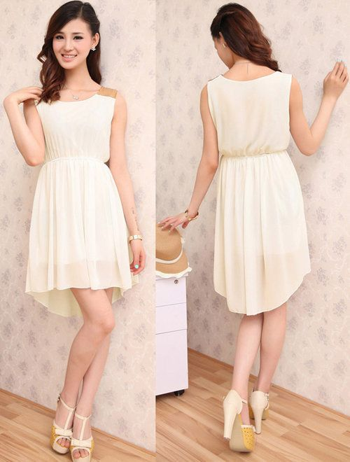 APRICOT DRESS CHIFFON SLEEVELESS IRREGULAR SKIRT SEQUINS SHOULDER - $28