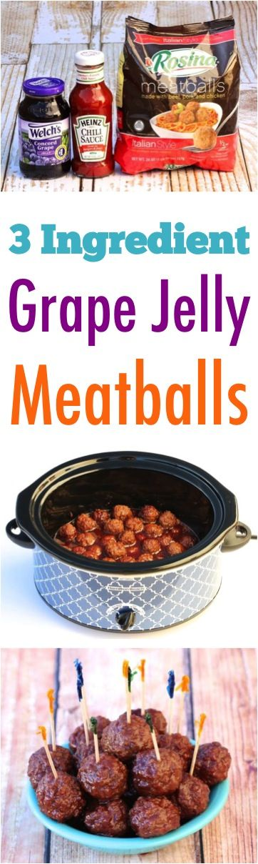 Grape Jelly Meatballs Crockpot Recipe! This easy appetizer is perfect for your next Party, Game Day, or Holiday get together!  Just 3 Ingredients!