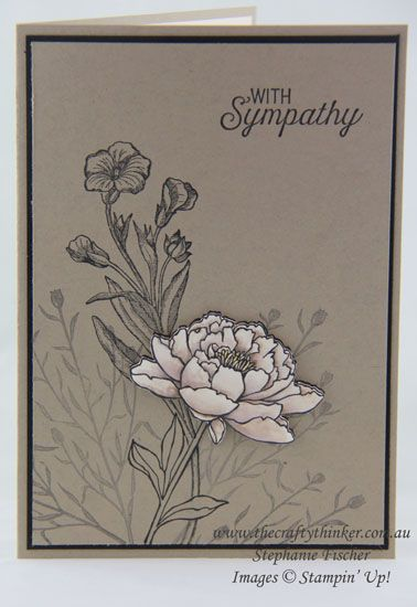 handmade sympathy card from thecraftythinker ... You've Got This flower from Stampin' Up!,  .... kraft with black lines and stamping off technique ... main flower in white ...