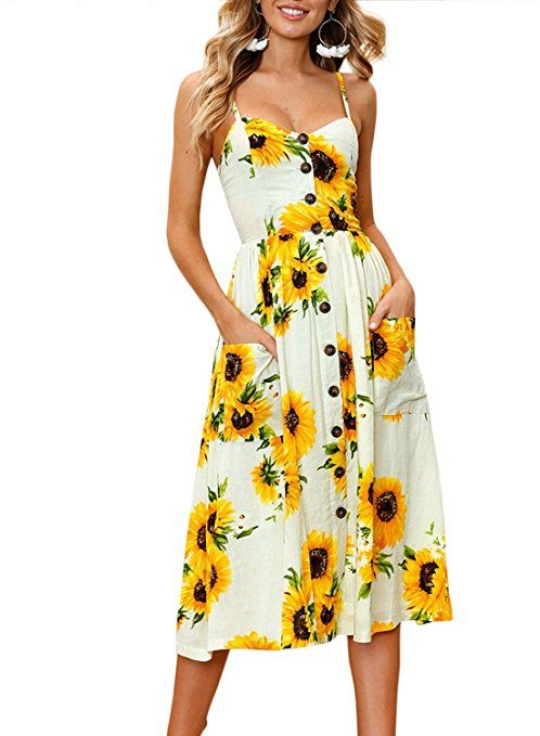 1dedd1f0a9 ZESICA Women's Summer Spaghetti Strap Floral Print Button Down Swing Midi  Dress With Pockets at Amazon Women's Clothing store: