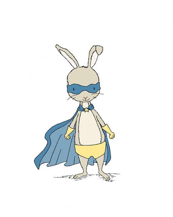 Superhéroe arteSuperhéroe Bunny arte Animal por SweetMelodyDesigns