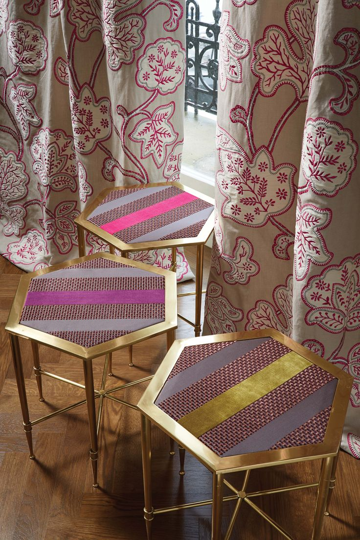 Chandor Mando (tables) and Shimga (curtains) fabric - Lorca at @osbornelittle - available from Rodgers of York #interiors #fabric