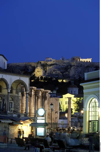 Plaka and Acropolis. Athens, GREECE.