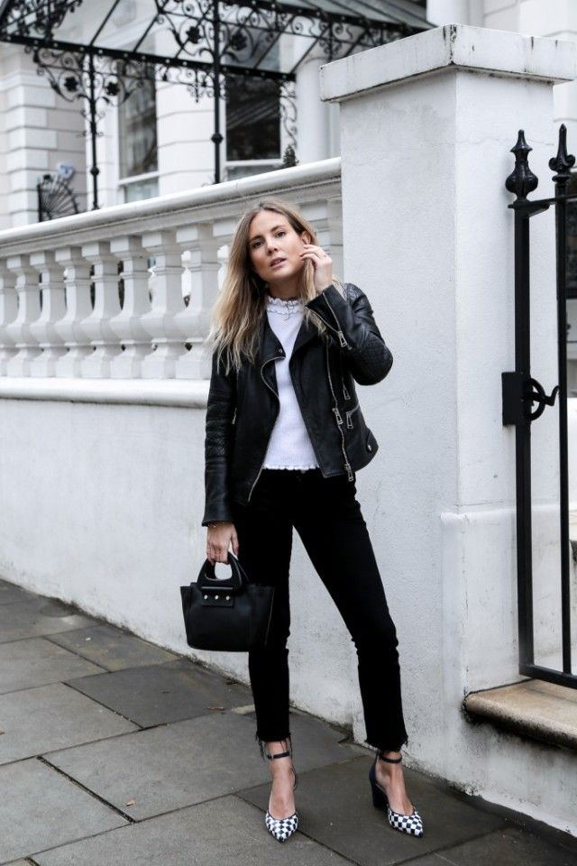 Wondering how to style the black and white trend? Try this classic style, which consists of a cute white knit top, black jeans, and a leather jacket. Lucy Williams has even got a pair of monochrome checked heels to add an extra touch of glam to the look! Top: Asos, Jeans: Old MIH, Jacket: Belstaff, Shoes: LK Bennet.