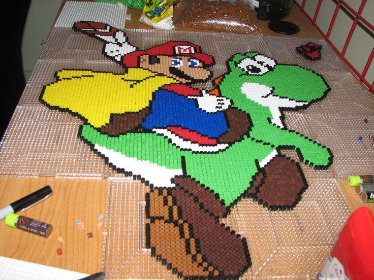 Jaffa Cake Pixel Art : GIANT Mario and Yoshi Perler Bead Art Perler Beads ...