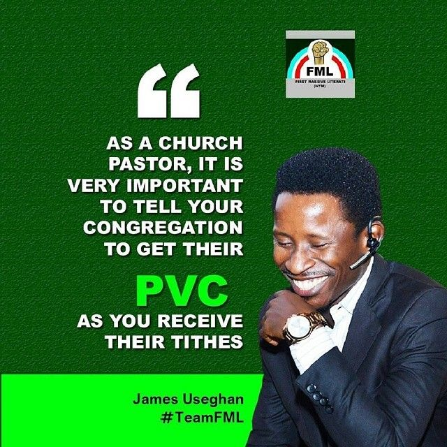 My Dear Pastors and G. Os  The PVC is now as important as the tithes we collect in churches..Preach the PVC to your members too and mandate them to go get their PVC!  It's high time the Church begin to implore her members to participate in politics. We are tired of the status quo. If you are an adult Christian and you intentionally don't have a PVC then you are no different from our wicked money sucking leaders... #CollectYourPVC #MyPVCMyVoice #TeamFML