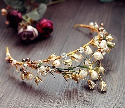 Vintage Bridal Pearl Crown Gold Leaf Tiara Wedding Rhinestone Headband Headpiece | eBay