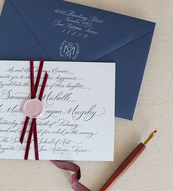 we would like to invite you celebrate our wedding in december0th%0A Gorgeous letterpress invitation  bound together with velvet ribbon and  monogram wax seal by Southern Fried Paper