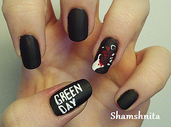 Nail art inspired by famous album covers