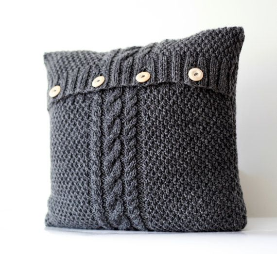Hand Knitted Gray Pillow Cover Cable Hand Knit Decorative Pillows Case Handmade Home Decor 0179