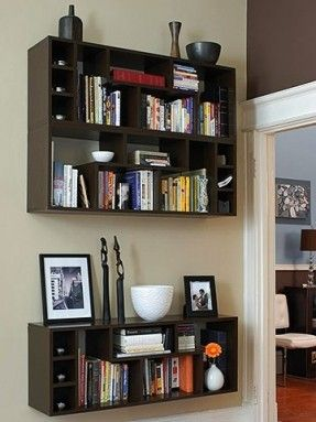 For a fresh, modern twist, mount a ready-to-assemble bookcase directly