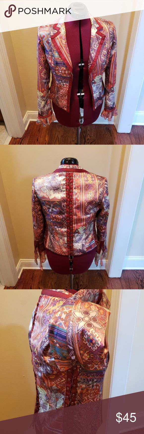 Boho Chic Jacket Bold, colorful pattern and lace up details on the sides and bac… – My Posh Picks