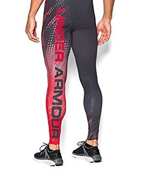 23bd21855 Under Armour Men's UA HeatGear Armour Graphic Compression Leggings Medium  Black