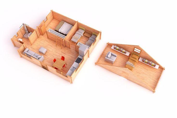ANTARES B 50 m² 45mm con porche y altillo, Bungalows de 45mm