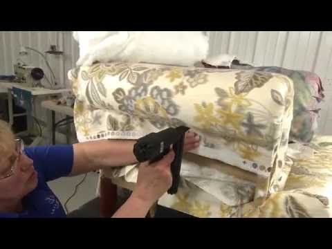 how to upholster the back of an open frame chair | miss mustard seed - YouTube