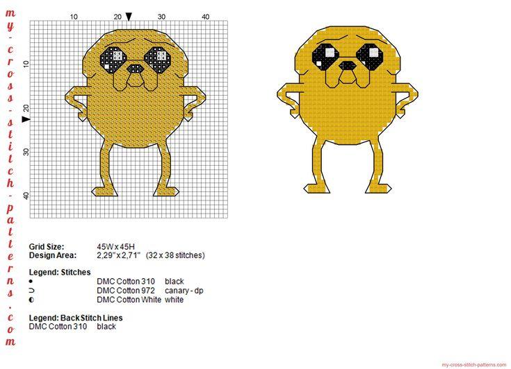 Il cane Jake di Adventure Time schema punto croce