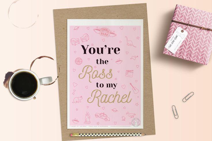 Affiche carte ROSS & RACHEL Poster Friends Amour Saint