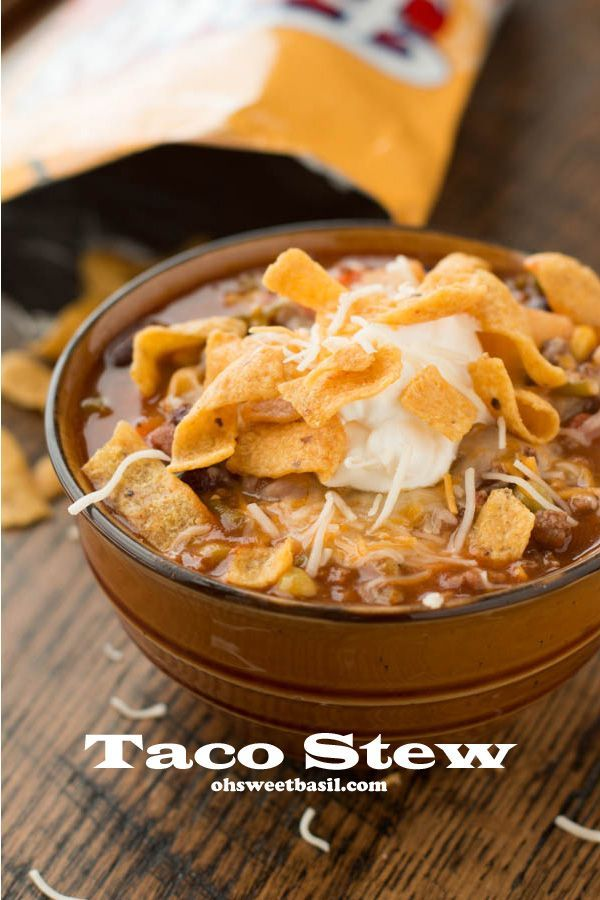 Taco Stew... perfect to warm up with in cold weather!  http://www.ohsweetbasil.com/2014/01/taco-stew.html | Recipes for Foodies