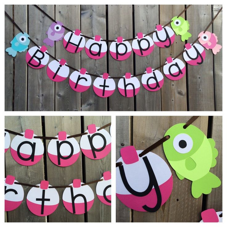 Ready to Ship - Gone Fishing Themed Banner - Girl Fish Banner - Pink Fish and Bobber Banner - Happy Birthday Fish Banner by lilcraftychickadee on Etsy https://www.etsy.com/ca/listing/291733829/ready-to-ship-gone-fishing-themed-banner