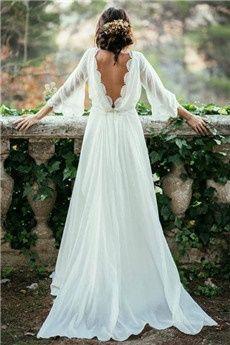A-Ligne/Princess Col Ras du Cou Traîne tribunal Chiffon Robe de Mariée