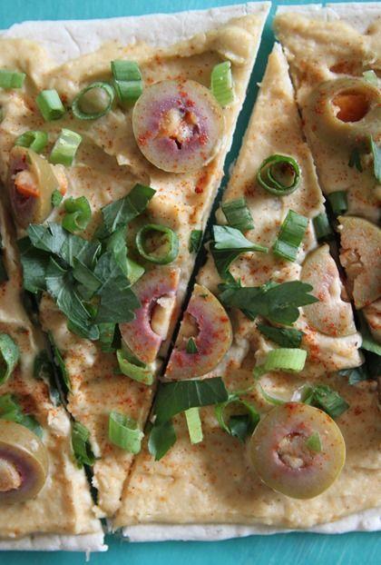 Hummus and Olive Flatbread Pizza