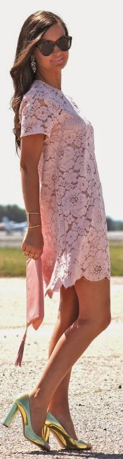 BCBG MAXAZRIA Dusty Pink Lace Dress by For All Things Lovely