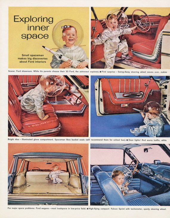 1963 Ford Fairlane Falcon Car Ad Boy In Space Helmet Photo Atomic Age  Vintage Advertisement Sci Fi Wall Art Print
