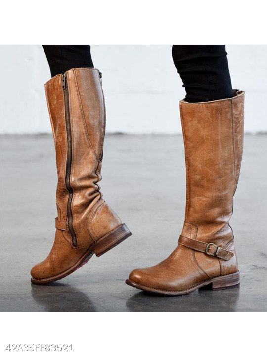 4539359779b Plain Flat Round Toe Date Outdoor Knee High Flat Boots in 2019 ...