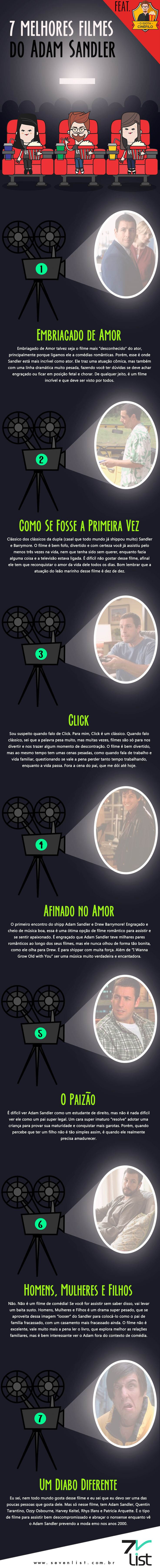 Vamos a uma lista polêmica: nem todo mundo é fã de Adam Sandler, porém um membro da nossa equipe (Mais conhecido como O Idiota Cinéfilo) é um defensor fiel do ator. Confira os 7 melhores filmes do Adam Sandler que ele listou pra gente. #SevenList #Cinema #Cine #Movies #Cine #Filmes #Film #AdamSandler