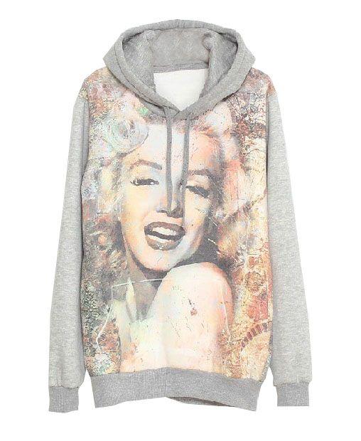 Marilyn Monroe Printed Long Sleeves Hoodies