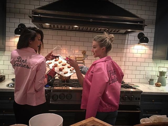 Pin for Later: 18 Times You Wished You Were Friends With Nina Dobrev and Julianne Hough When They Made Dinner Together While Wearing Matching Jackets