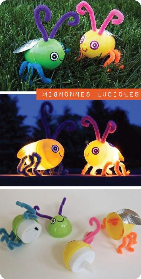 De mignonnes petites lucioles à fabriquer à partir de petits cocos de pâques en plastique. Y ajouter une mini chandelle à batterie. Lui ajouter des yeux, des ailes, des pattes et des antennes.