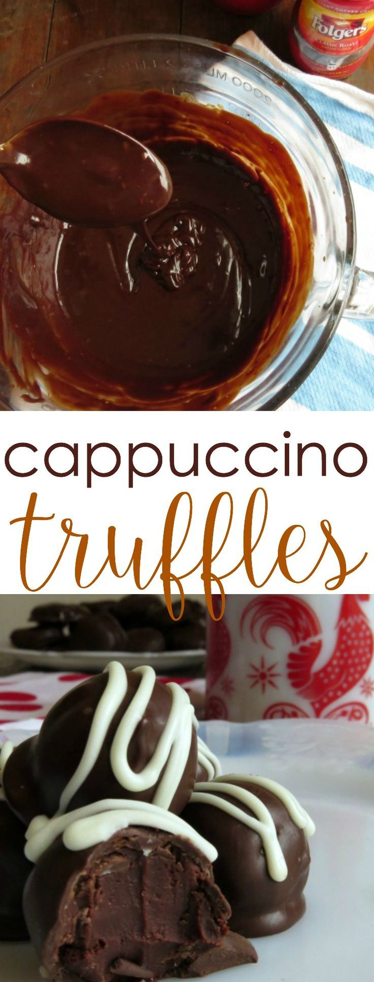 Truffles Recipe: Try these cappuccino truffles for a sweet alternative to your coffee routine. The dark chocolate and mocha flavored middle of this sweet treat is a coffee lover's favorite! You'd be surprised just how easy this recipe is to make-- simple dessert favorite.