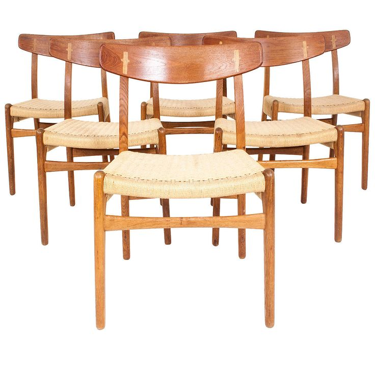 Hans J. Wegner Set of Six Teak Chairs Model CH 23 | From a unique collection of antique and modern dining room chairs at https://www.1stdibs.com/furniture/seating/dining-room-chairs/