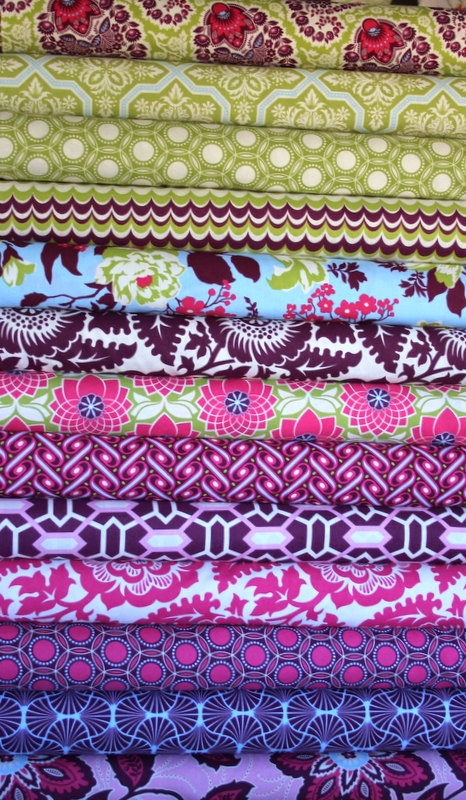 Heirloom fat quarter bundle (sapphire colorway)--13 pieces (3-1/4 yards total), Joel Dewberry, Free Spirit Fabrics