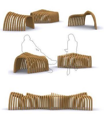 Olas de madera del Diseñador Juan M. Marin, ganador del decimotercer Concurso Internacional de Diseño Industrial del Mueble