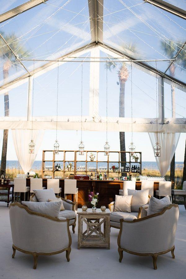 Clear-Top Reception Tent    Photography: Hopkins Studios   Read More:  http://www.insideweddings.com/weddings/modern-ocean-view-wedding-in-sea-island-georgia/512/