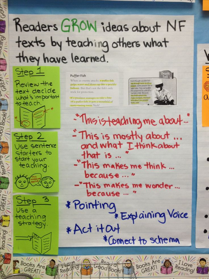 Readers GROW ideas about NF texts by teaching others what they have learned - 3rd grade Lucy Calkins Non Fiction Unit Chart