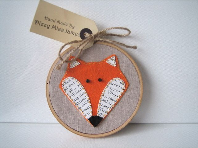 Mr Fox Hand Stitched Embroidery Hoop Art £10.50