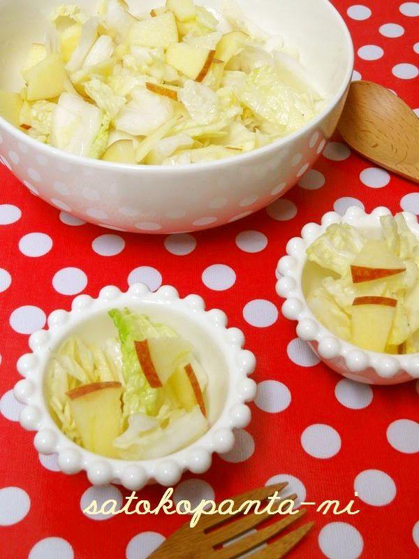 白菜とリンゴの簡単サラダ♡   きってビニール袋でシャカシャカするだけ♪2013年2月8日話題入りしました♡ありがとうございます。 #りんご #林檎 #白菜 #サラダ #ビニール袋