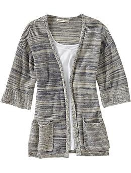Women's Marled Open-Front Cardigans. Old Navy
