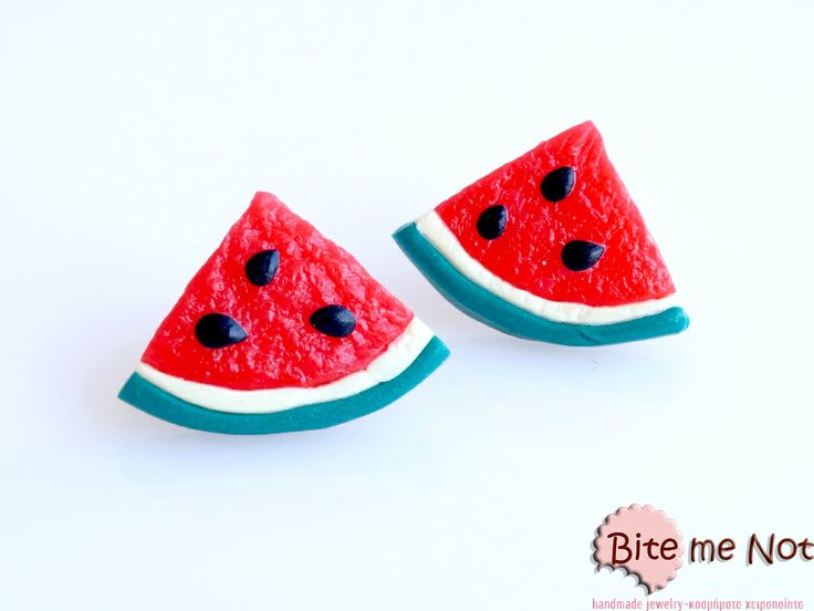 Watermelons (1/4) -Silver plated stud earrings!  -Watermelons slices (1/4)!