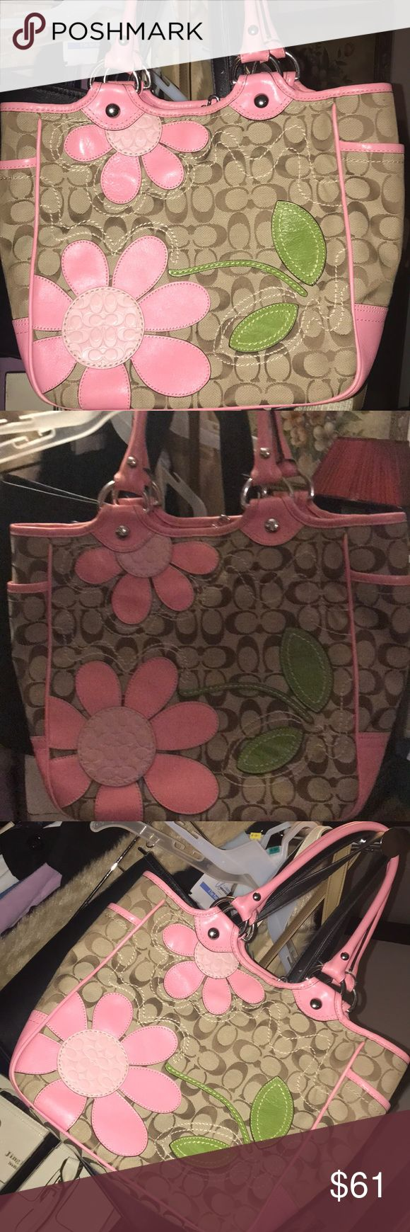 Authentic and original Coach Tote Versatile and different but oh so cute Pink and flower 🌸 pattern Coach Tote Bag. Great condition in and out of the bag. Coach Bags Totes