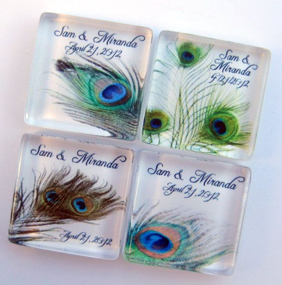 Peacock Wedding Favors - Personalized Magnets - 1 Inch Square Glass - Birthday, Wedding, Shower Favors - 100 Magnet Favors. $175.00, via Etsy.