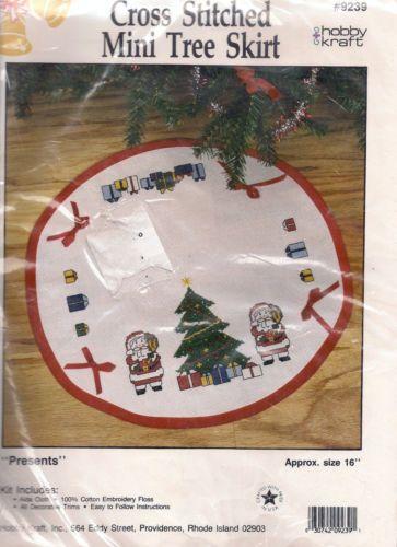 Christmas Tree Skirt Presents Santa Cross Stitch Kit Mini 16\