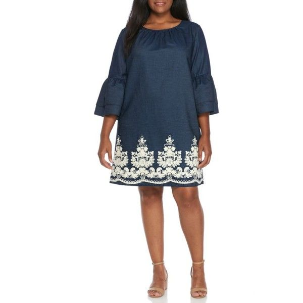 Beige By Eci  Plus Size Embroidered Bell Sleeve Dress ($70) ❤ liked on Polyvore featuring plus size women's fashion, plus size clothing, plus size dresses, navyivory, plus size, eci dresses, white embroidery dress, denim dress, white dress and white bell sleeve dresses