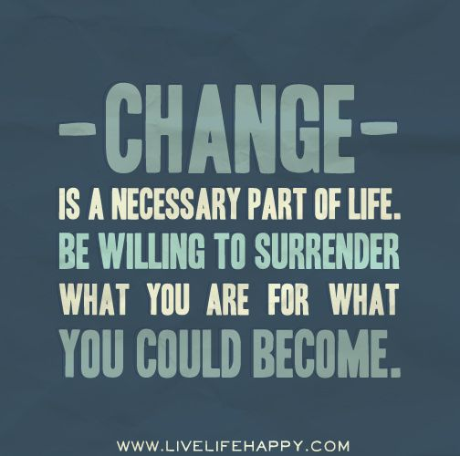 Quotes On Change: Change Is A Necessary Part Of Life. Be Willing To