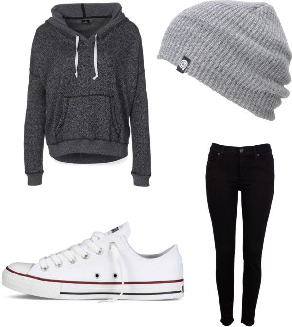 Slouchy hoodie for lazy days with dark jeans. POSSIBLY. look into white converse (or knock offs whateve.)