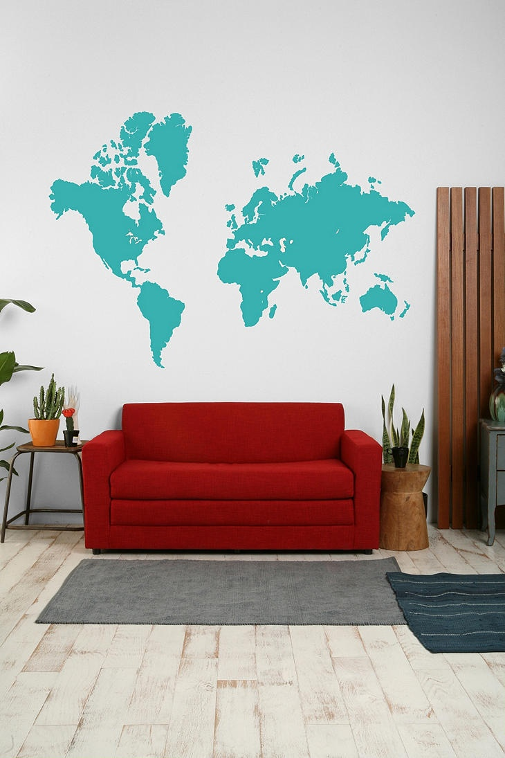 137 best interior world maps images on pinterest wall maps urban outfitters world map wall decal office products 59