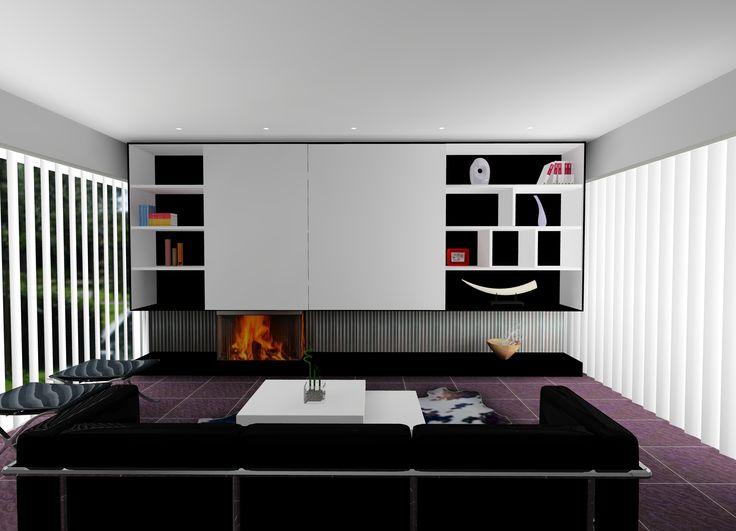 Houthaard kal-Fire Heat Pure 3-zijdig in strakke wand met schuifdeurkasten en verborgen TV